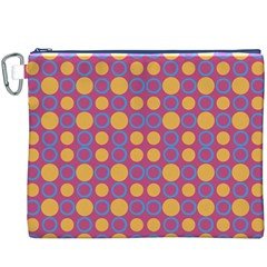 Colorful Geometric Polka Print Canvas Cosmetic Bag (xxxl) by dflcprints