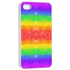 Striped Painted Rainbow Apple Iphone 4/4s Seamless Case (white) by Brini