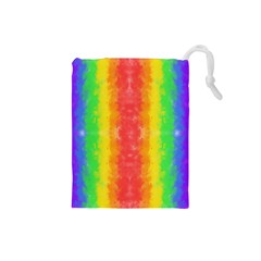Striped Painted Rainbow Drawstring Pouches (small)  by Brini