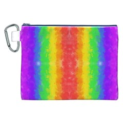 Striped Painted Rainbow Canvas Cosmetic Bag (xxl) by Brini