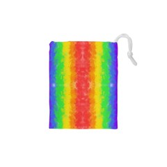 Striped Painted Rainbow Drawstring Pouches (xs)  by Brini