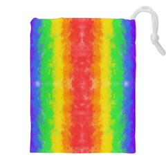 Striped Painted Rainbow Drawstring Pouches (xxl) by Brini