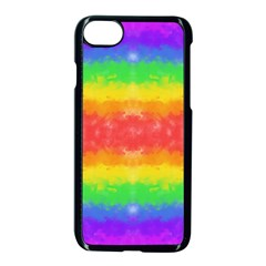 Striped Painted Rainbow Apple Iphone 7 Seamless Case (black) by Brini