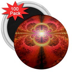 Liquid Sunset, A Beautiful Fractal Burst Of Fiery Colors 3  Magnets (100 Pack) by beautifulfractals