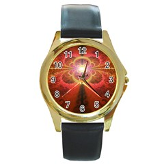 Liquid Sunset, A Beautiful Fractal Burst Of Fiery Colors Round Gold Metal Watch by beautifulfractals