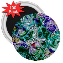 Floral Chrome 01b 3  Magnets (100 Pack) by MoreColorsinLife