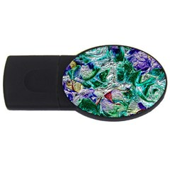 Floral Chrome 01b Usb Flash Drive Oval (2 Gb) by MoreColorsinLife