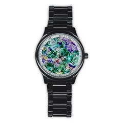 Floral Chrome 01b Stainless Steel Round Watch by MoreColorsinLife