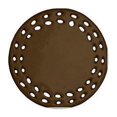Brown Hide Solid Color  Ornament (round Filigree) by SimplyColor