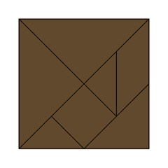 Brown Hide Solid Color  Acrylic Tangram Puzzle (6  X 6 ) by SimplyColor