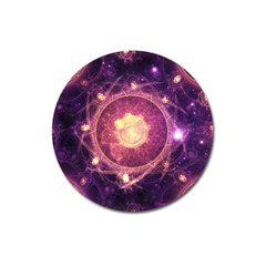 A Gold And Royal Purple Fractal Map Of The Stars Magnet 3  (round) by beautifulfractals