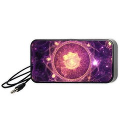 A Gold And Royal Purple Fractal Map Of The Stars Portable Speaker (black) by jayaprime