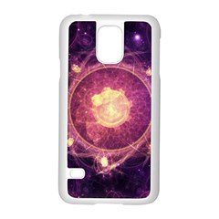 A Gold And Royal Purple Fractal Map Of The Stars Samsung Galaxy S5 Case (white) by beautifulfractals