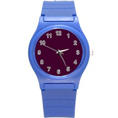 Black Cherry Solid Color Round Plastic Sport Watch (s) by SimplyColor