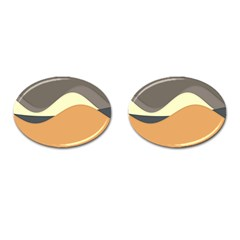 Wave Chevron Waves Material Cufflinks (oval) by Mariart