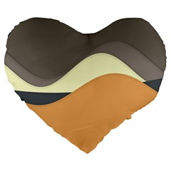 Wave Chevron Waves Material Large 19  Premium Flano Heart Shape Cushions by Mariart