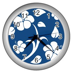 Blue Hawaiian Flower Floral Wall Clocks (silver)  by Mariart