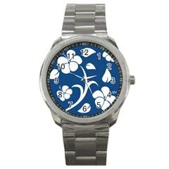 Blue Hawaiian Flower Floral Sport Metal Watch by Mariart