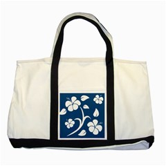 Blue Hawaiian Flower Floral Two Tone Tote Bag by Mariart