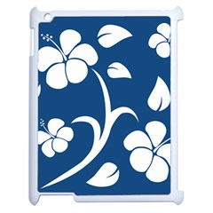Blue Hawaiian Flower Floral Apple Ipad 2 Case (white) by Mariart