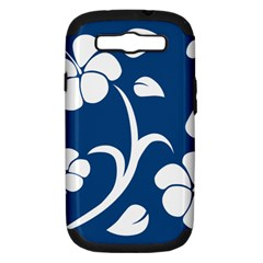 Blue Hawaiian Flower Floral Samsung Galaxy S Iii Hardshell Case (pc+silicone) by Mariart