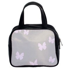 Butterfly Silhouette Organic Prints Linen Metallic Synthetic Wall Pink Classic Handbags (2 Sides) by Mariart