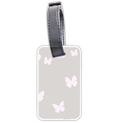Butterfly Silhouette Organic Prints Linen Metallic Synthetic Wall Pink Luggage Tags (one Side)  by Mariart