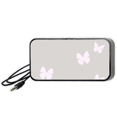 Butterfly Silhouette Organic Prints Linen Metallic Synthetic Wall Pink Portable Speaker (black) by Mariart