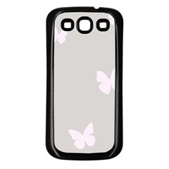 Butterfly Silhouette Organic Prints Linen Metallic Synthetic Wall Pink Samsung Galaxy S3 Back Case (black) by Mariart
