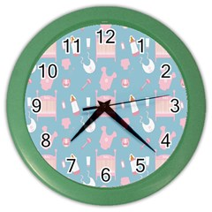 Baby Girl Accessories Pattern Pacifier Color Wall Clocks by Mariart