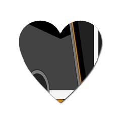 Flag Grey Orange Circle Polka Hole Space Heart Magnet by Mariart