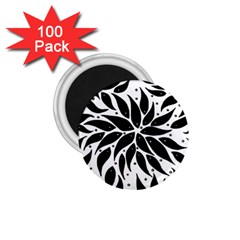 Flower Fish Black Swim 1 75  Magnets (100 Pack)  by Mariart