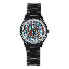 Dizzy Stone Wave Stainless Steel Round Watch by Mariart