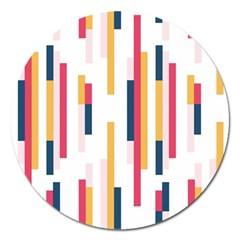 Geometric Line Vertical Rainbow Magnet 5  (round) by Mariart