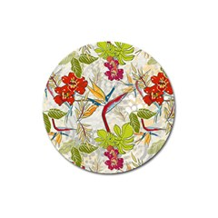 Flower Floral Red Green Tropical Magnet 3  (round) by Mariart