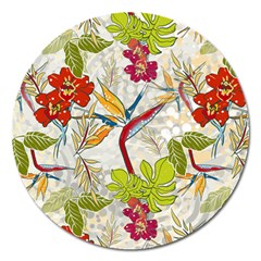 Flower Floral Red Green Tropical Magnet 5  (round) by Mariart
