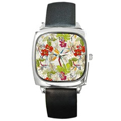 Flower Floral Red Green Tropical Square Metal Watch by Mariart
