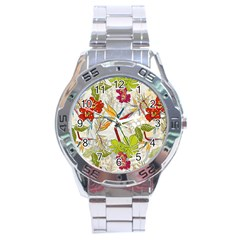 Flower Floral Red Green Tropical Stainless Steel Analogue Watch by Mariart