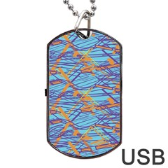Geometric Line Cable Love Dog Tag Usb Flash (two Sides) by Mariart