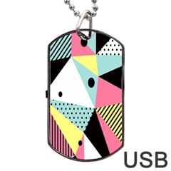 Geometric Polka Triangle Dots Line Dog Tag Usb Flash (one Side) by Mariart