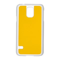 Amber Solid Color  Samsung Galaxy S5 Case (white) by SimplyColor