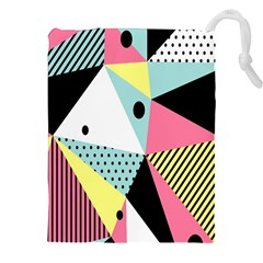 Geometric Polka Triangle Dots Line Drawstring Pouches (xxl) by Mariart