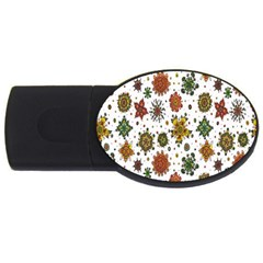 Flower Floral Sunflower Rose Pattern Base Usb Flash Drive Oval (4 Gb) by Mariart