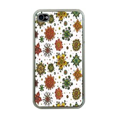 Flower Floral Sunflower Rose Pattern Base Apple Iphone 4 Case (clear) by Mariart