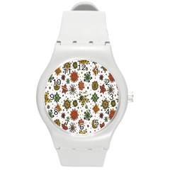 Flower Floral Sunflower Rose Pattern Base Round Plastic Sport Watch (m) by Mariart