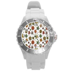 Flower Floral Sunflower Rose Pattern Base Round Plastic Sport Watch (l) by Mariart