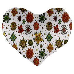 Flower Floral Sunflower Rose Pattern Base Large 19  Premium Heart Shape Cushions by Mariart
