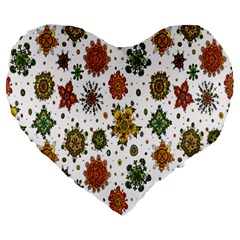 Flower Floral Sunflower Rose Pattern Base Large 19  Premium Flano Heart Shape Cushions by Mariart