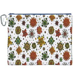 Flower Floral Sunflower Rose Pattern Base Canvas Cosmetic Bag (xxxl) by Mariart