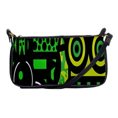Half Grower Banner Polka Dots Circle Plaid Green Black Yellow Shoulder Clutch Bags by Mariart